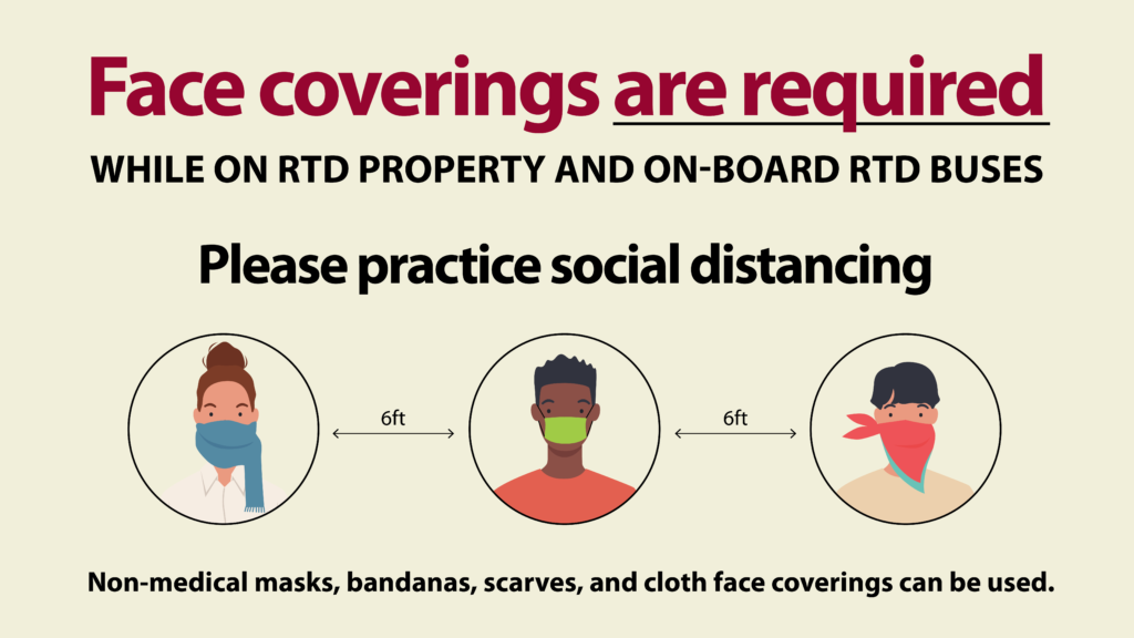 Graphic: Face coverings are required while on RTD property and on-board RTD buses