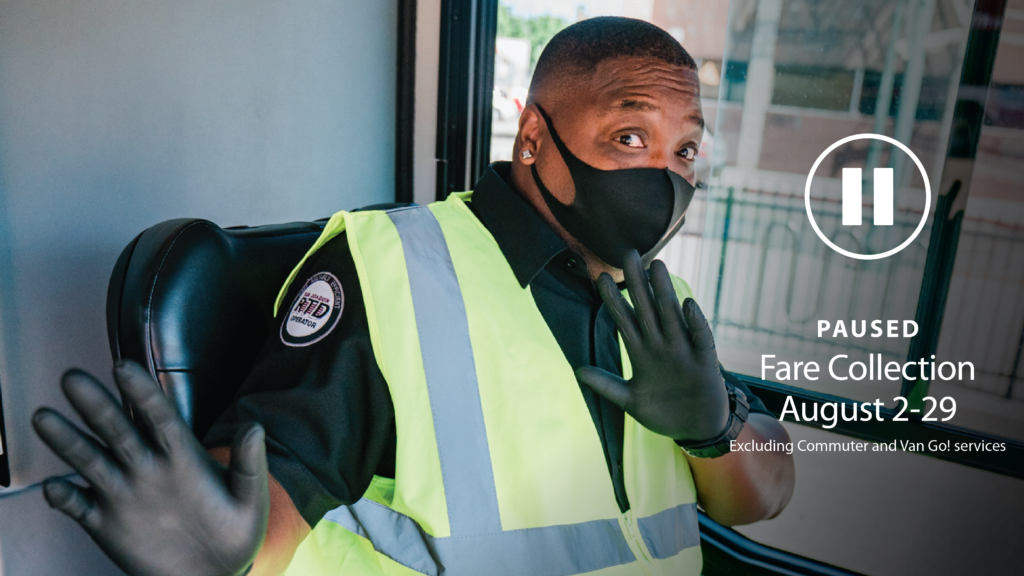 Photo of bus operator with face mask on, inside bus. Text overlay: paused are collection August 2-28. Excludes commuter and van Go! services