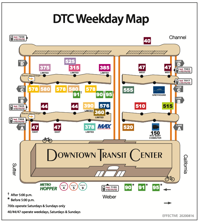 Downtown Transit Center Weekday Platform Map