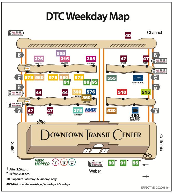 Downtown Transit Center Weekday Platform Map