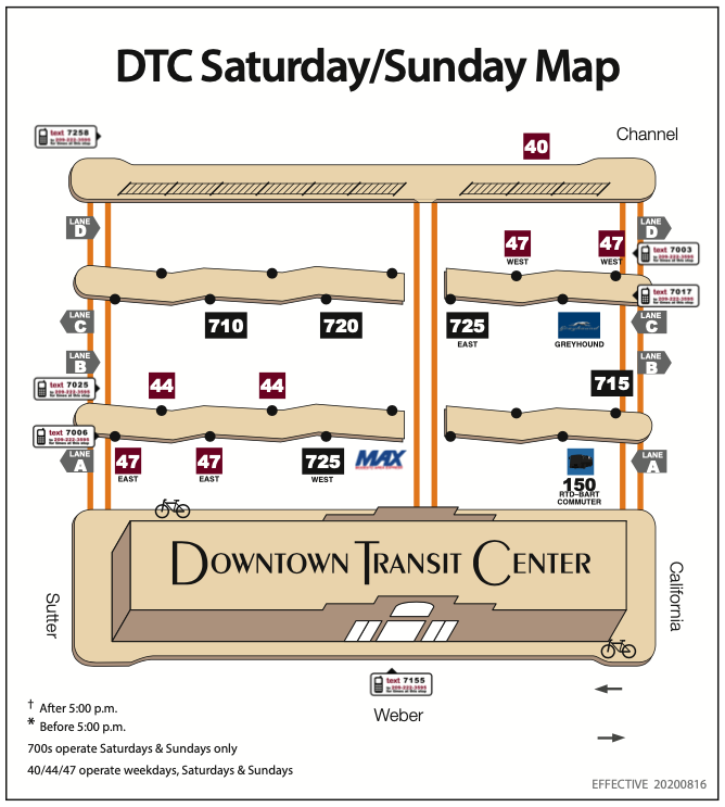 Downtown Transit Center Weekend Platform Map