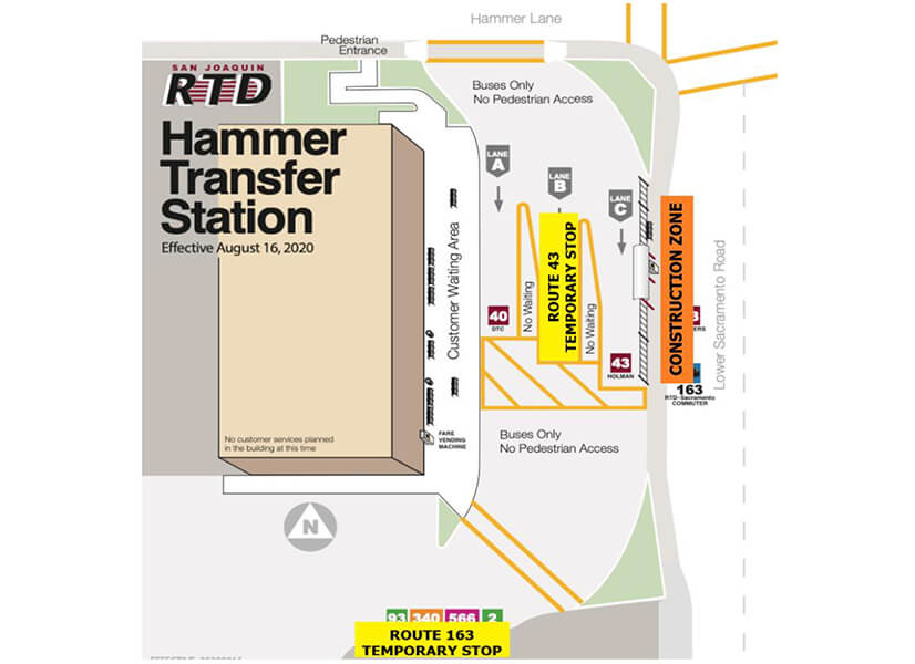 Rider Alert - Route 43 and 163 temporary boarding change Dec. 21.