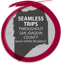 Graphic map of San Joaquin County with words,
