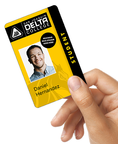 image of Delta student ID card. card is yellow and black with a photo of a student.