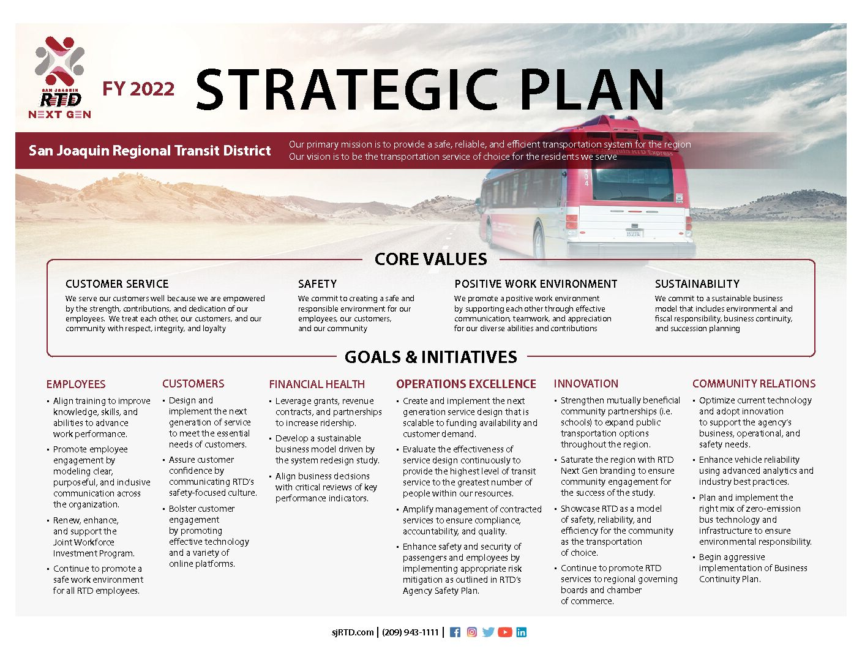 San Joaquin Regional Transit District Fiscal Year 2022 Strategic Plan